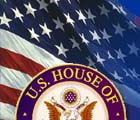 Seal of the US House of Representatives in front of a U.S. flag