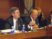 photo - Miller asks a question seated next to Rep. Boehlert (R-NY), chairman of the Committee on Science.