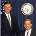 Former Representative from the Second District Bob Weygand visits Congressman Langevin's district office (April 2002)