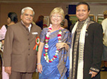 Pryce is shown here with Dr. J. S. Jindal and FIA President Niranjan Patel of the Federation of Indian Associations