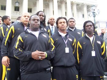 April 8, 2008--Congressman Jefferson with a few New Orleans members of the 2008 BCS Championship LSU team
