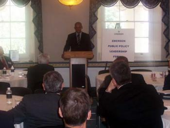 June 3, 2004 -- Jefferson speaks to business leaders from Emerson Manufacturing Corporation.