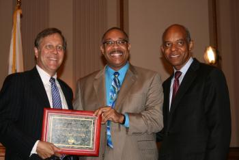 September 17, 2008---Congressman Jefferson with National Endowment of the Arts Heritage Fellowship recipient, Dr. Michael White