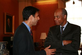 June 18, 2008 -- Congressman Jefferson speaks with Governor Bobby Jindal about Gulf Coast funding in the Emergency Supplemental
