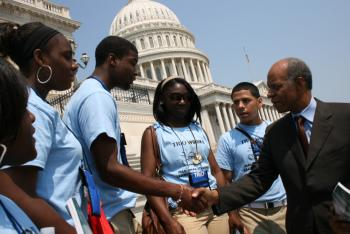 June 10, 2008 -- Representative Jefferson with TRIO students from New Orleans