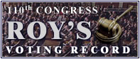 109th Congress Roy's Voting Record Button