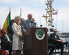 Congresswoman Harman and Homeland Security Secretary Michael Chertoff give a press conference at the Port of LA on the resumption of trade following a terrorist attack.