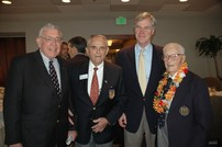 Rep. Crenshaw photographed at the Jacksonville Council of the Navy League's Annual Pearl Harbor Commemoration Luncheon.  With him are RADM Byron Fuller, RADM Joe Coleman, and Capt. Charles Gray Strum.  Capt. Strum, with the lei, was at Pearl Harbor when it was bombed.