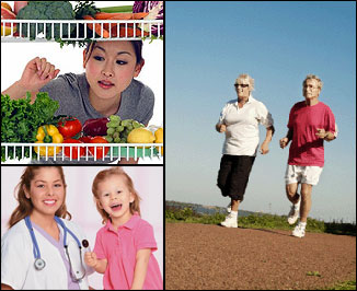 Images contains three smaller images one shows a couple running, the next a woman looking at vegetables and the third image is of a doctor standing with a child patient