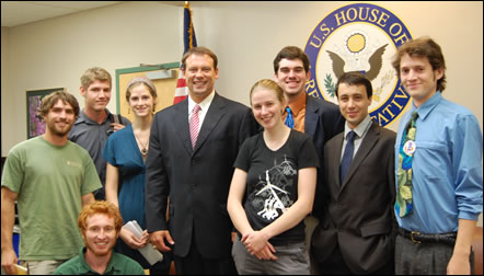 Congressman Shuler with students from UNC-A's Active Students for a Healthy Environment (ASHE)