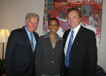 Rep. Edwards with Martin Sheen and Bradley Whitford