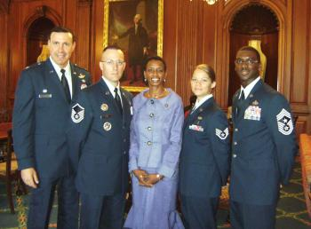Congresswoman Edwards with Col. Shepro and others from Joint Base Andrews