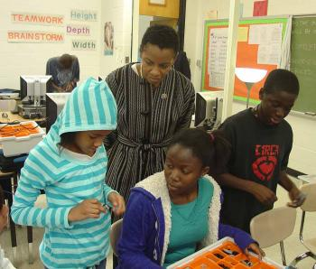 Rep. Edwards with Students Constructing a Robot at Benjamin Banneker Middle School in Burtonsville