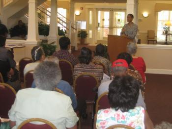 Rep. Edwards Speaks with Seniors at the Manor at Victoria Park in Temple Hills