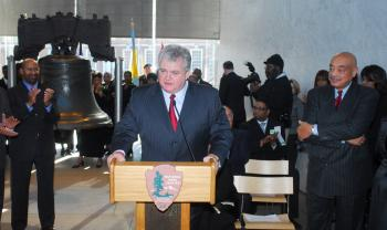 Congressman Brady at the annual Martin Luther King Jr. Day bell ringing service at the Liberty Bell.