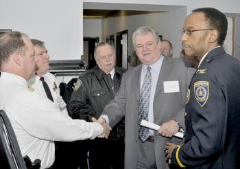 Congressman Brady greets security officers at inter-agency homeland security forum he hosted at the University of Pennsylvania.