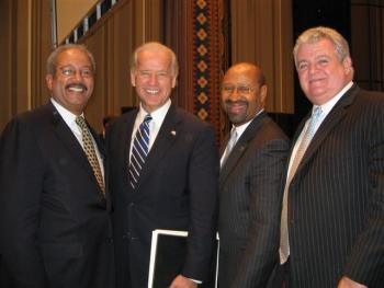 Congressman Brady meets with Vice President Biden, Mayor Nutter, and Congressman Fattah at the Middle Class Task Force meeting on green jobs at the University of Pennsylvania.