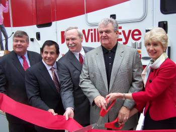 Congressman Brady joins Michael Meehan, Member of the Board of City Trusts; Ron Donatucci, Register of Wills; Joseph P. Bilson, Executive Director of the Wills Eye Institute; and Julia Haller, ophthalmologist-in-chief at the Wills Eye Bus ribbon cutting.