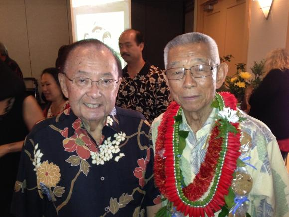 "Senator Inouye with McKinley High School, University of Hawaii classmate and 442nd veteran Fujio ""Fudge"" Matsuda"