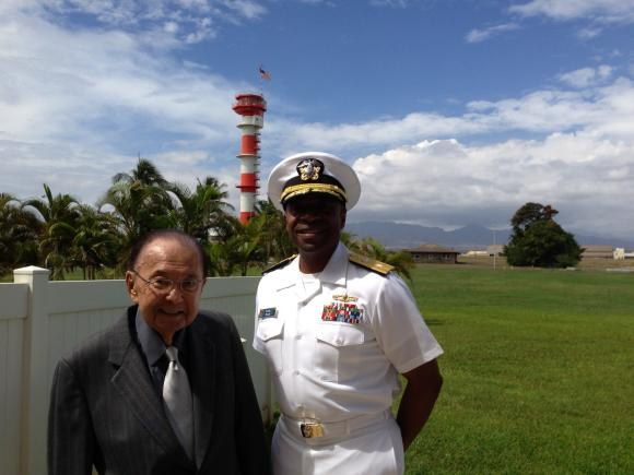 Senator Inouye and Rear Admiral Frank Ponds, Commander, Navy Region Hawaii