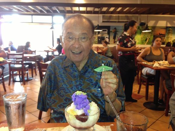 Senator Inouye enjoying the Halo Halo at Max's of Manila in Waipahu