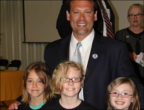 Congressman Shuler with students at Laurel Elementary School, winner of the national Blue Ribbon award.