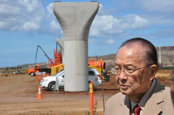 Senator Inouye touring the site of the Honolulu Rail Transit project.