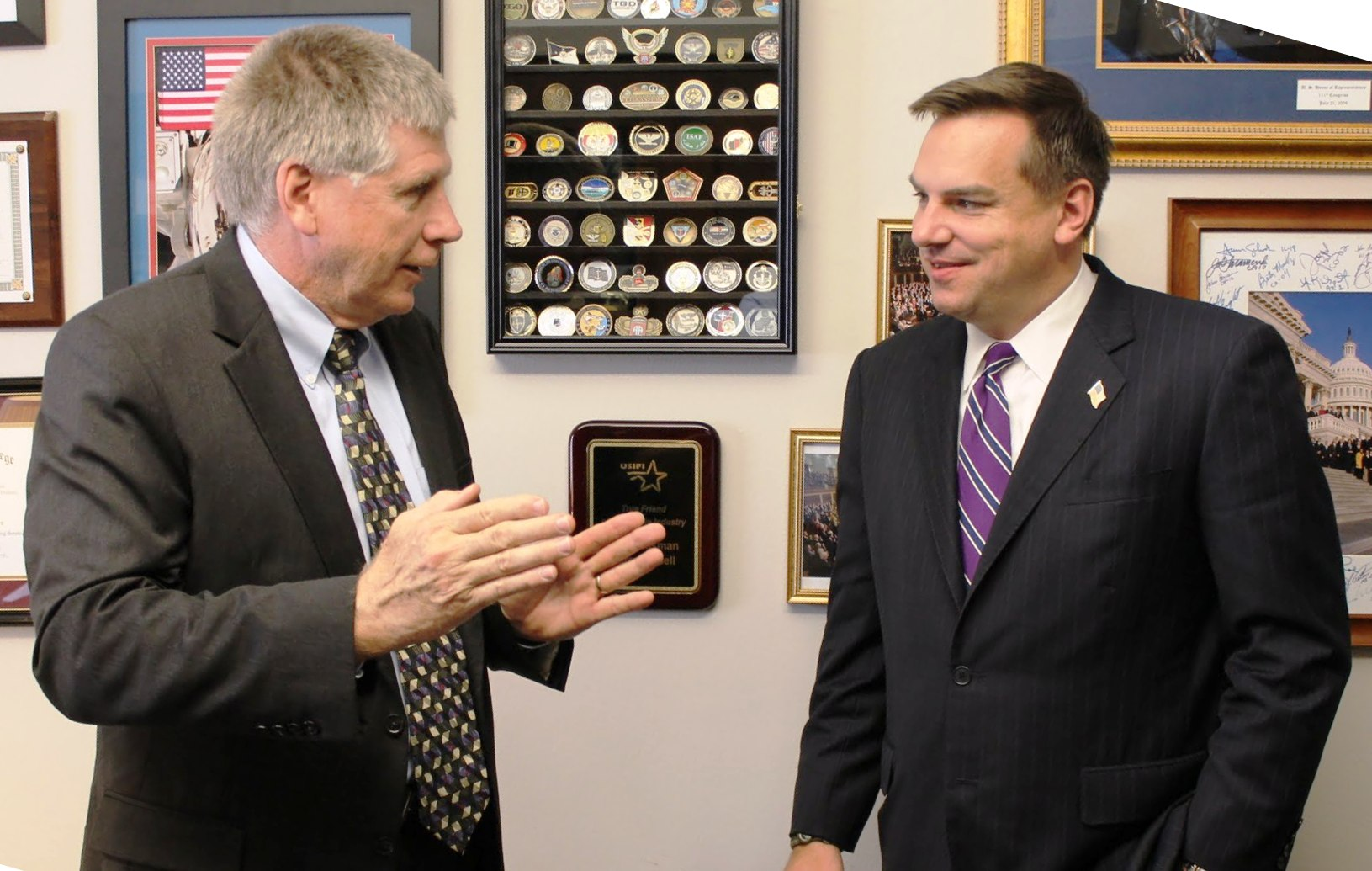 Rep. Larry Kissell welcomed Congressman-elect Richard Hudson to his Washington office today.