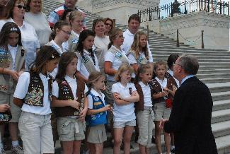 Sen. Alexander greets Girl Scouts from Murfreesboro on the steps of the United States Capitol.