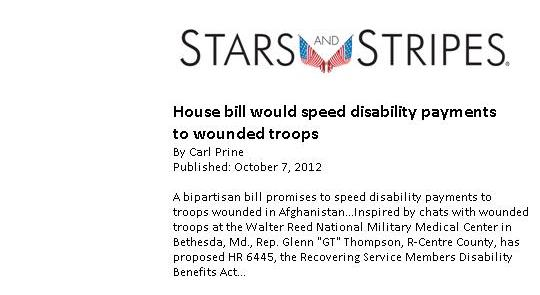Thompson bill would speed disability payments to wounded troops feature image