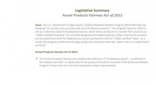 Thompson, Schrader Introduce Forest Products Fairness Act of 2012 feature image