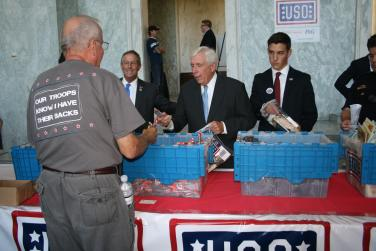 Assembling a care package for our troops on September 11, 2012.