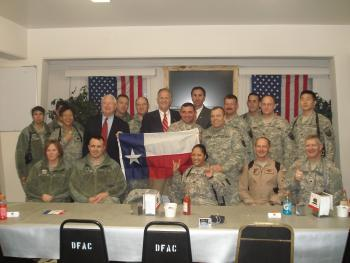 Congressman Olson on a trip to Afghanistan, meets with troops from Texas