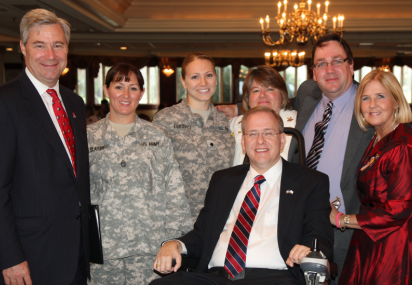 Congressman Langevin with veterans and supporters