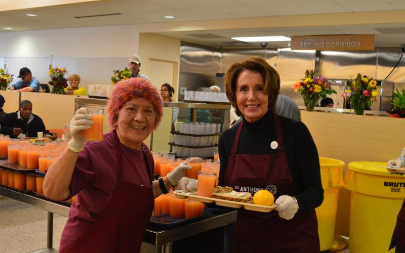 Congresswoman Pelosi joins Carmelita Lozano, a longtime volunteer with St. Anthony's Foundation, at St. Anthony's Dining Room for the Thanksgiving holiday.