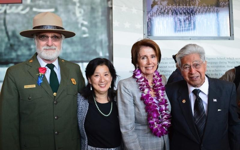 Congresswoman Pelosi joins Former Senator Daniel Akaka (D-HI), Executive Director of the National Japanese Historical Society Rosalyn Toni, and  National Parks Representative Stephen Haller in remembering the service of Japanese-American veterans of World