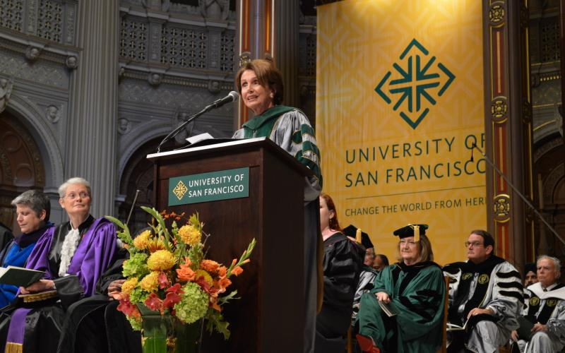 Congresswoman Pelosi addresses the inauguration ceremony of Rev. Paul J. Fitzgerald as the28th President of the University of San Francisco at the historic St. Ignatius Church.