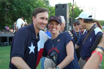 July 4th in Sugar Land - Congressman Olson with Michelle Greer, mother of fallen Marine Garret Gamble