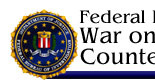 This is a graphic banner for Federal Bureau of Investigation, War on Terrorism, Counterterrorism and Counterintelligence