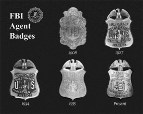 Photograph of FBI Agent badges