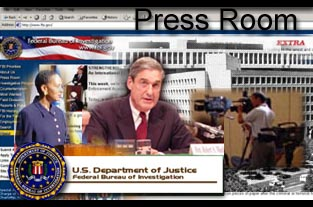 Graphic for the Press Room page. It is a collage of the Director, FBI Homepage, FBI Seal, and media.